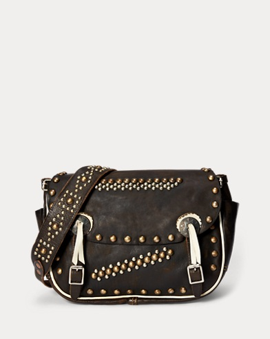 Studded Leather Saddle Bag