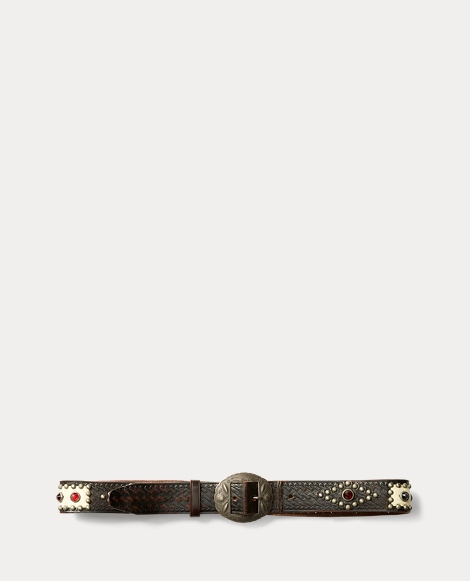 Hand-Studded Leather Belt