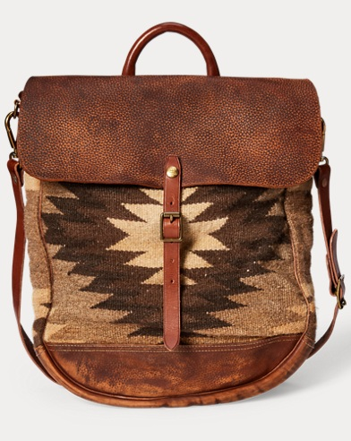 Leather-Panel Tapestry Bag