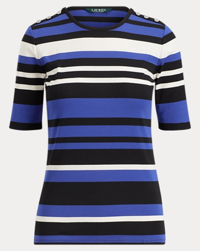 Buttoned Striped Jersey Top