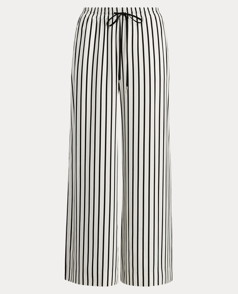 Striped Twill Wide-Leg Pant