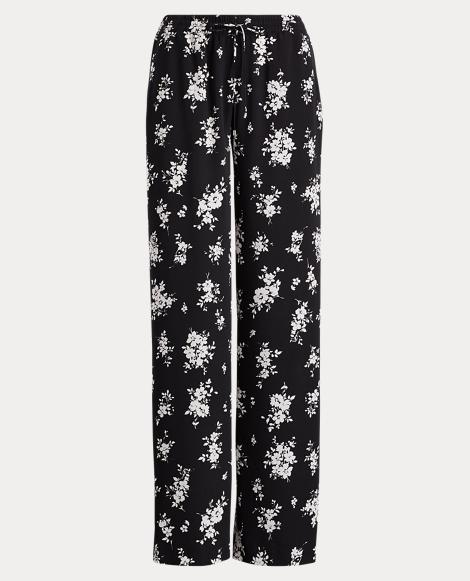 Floral Crepe Wide-Leg Pant