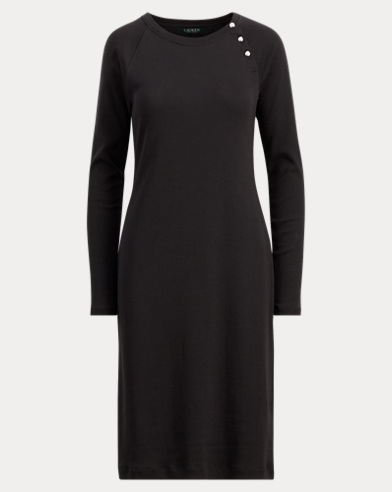 Button-Trim Cotton Dress