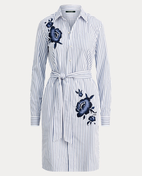 Embroidered Striped Shirtdress