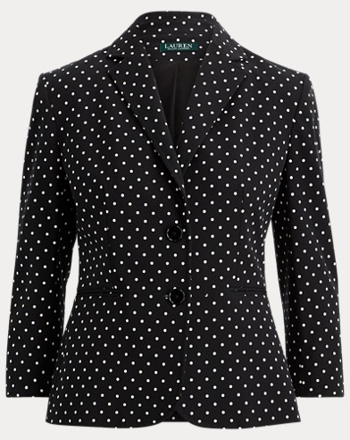 Polka-Dot Stretch Twill Jacket
