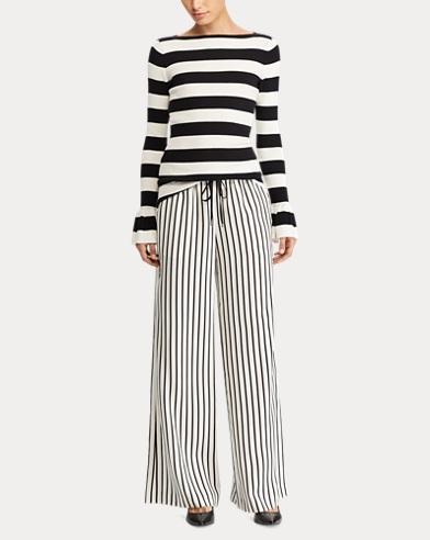 Striped Twill Wide-Leg Pant