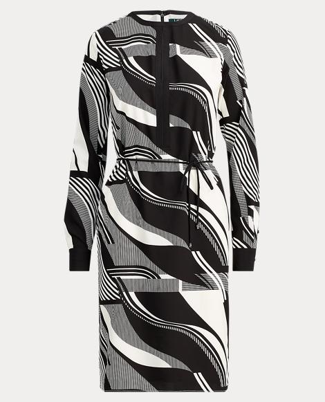 Print Crepe Drawstring Dress