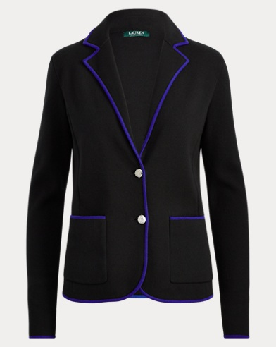 Velvet-Trim Cotton Blazer
