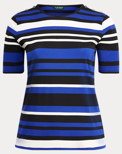 Striped Buttoned Jersey Top