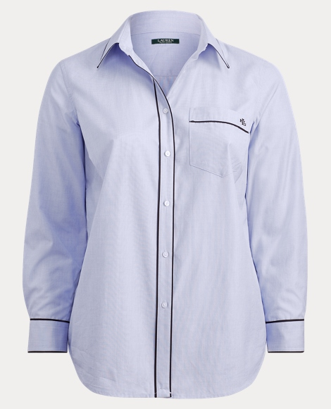 Piped Cotton Shirt