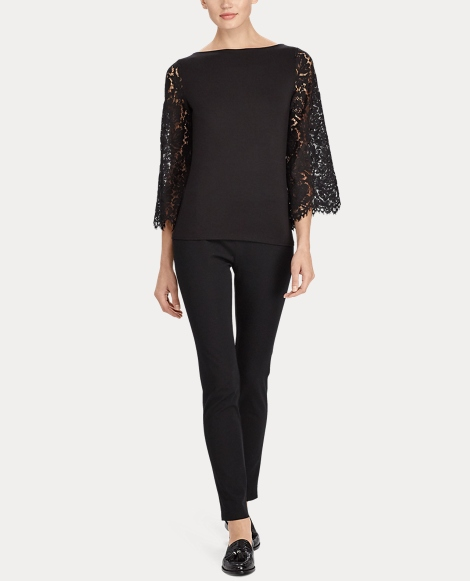Jersey-Lace Bell-Sleeve Top