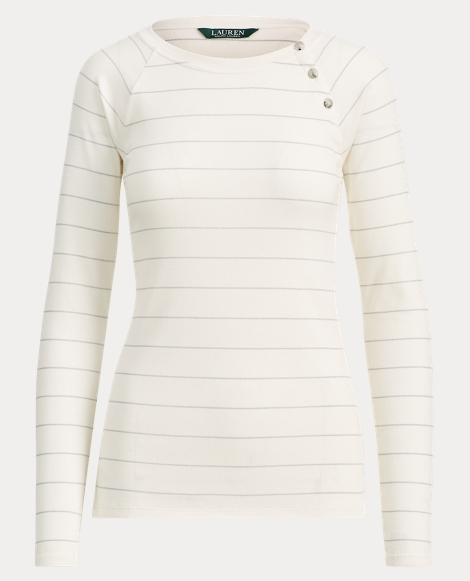 Button-Trim Stretch Cotton Top
