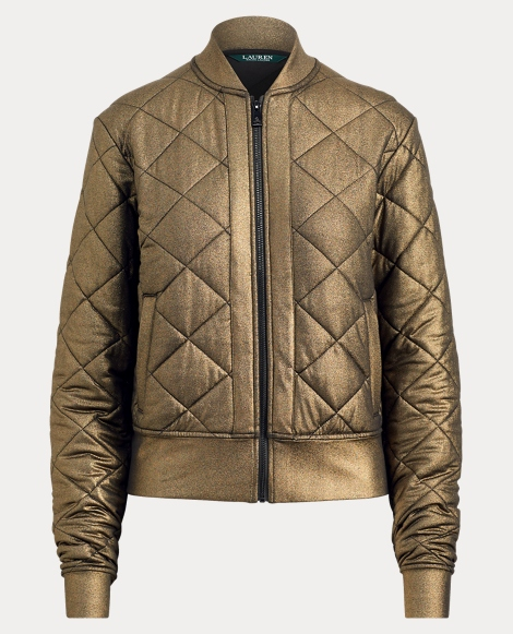Quilted Metallic Bomber Jacket