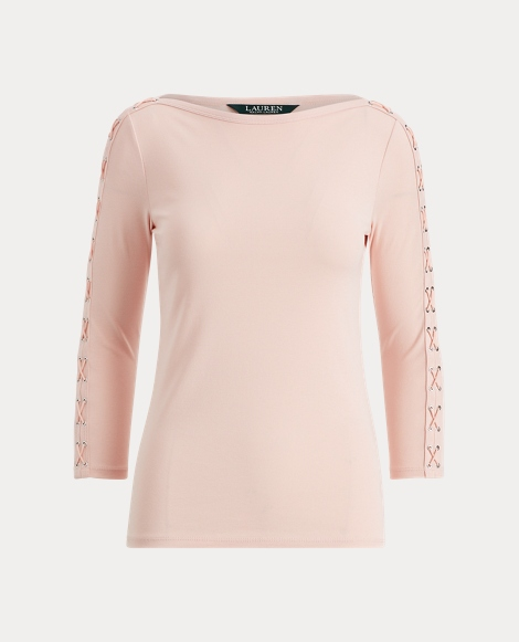 Lace-Up Cotton Boatneck Top