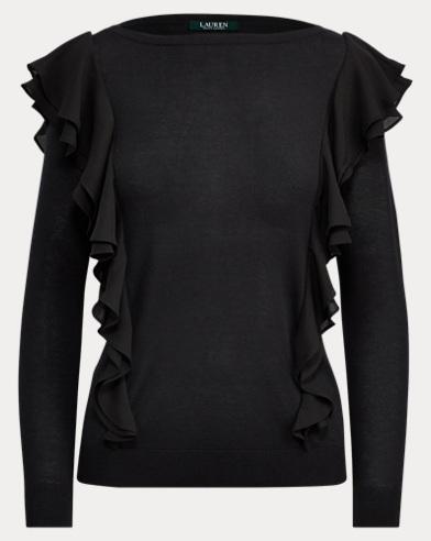 Ruffled Silk-Blend Sweater