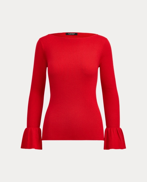 Ruffled-Cuff Boatneck Sweater