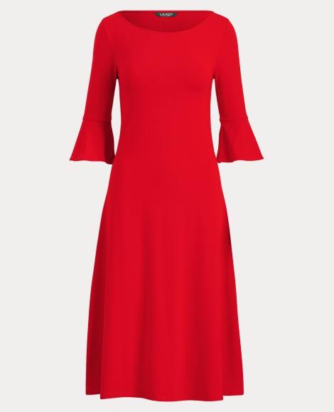 Jersey Bell-Sleeve Dress