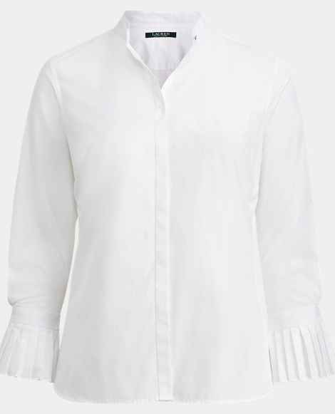 Pleated-Cuff Poplin Shirt