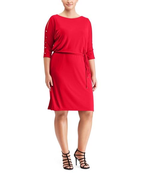 Button-Sleeve Jersey Dress