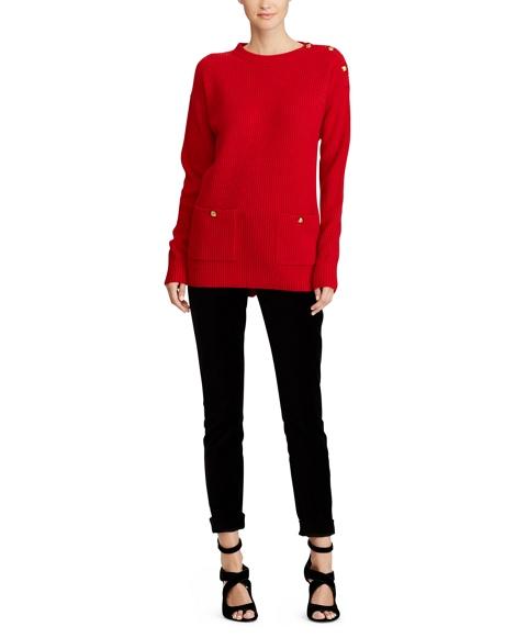 Button-Shoulder Wool Sweater