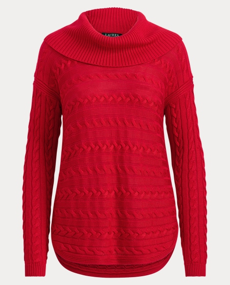 Cable-Knit Funnelneck Sweater