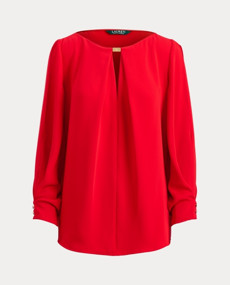 Crepe Split-Sleeve Top