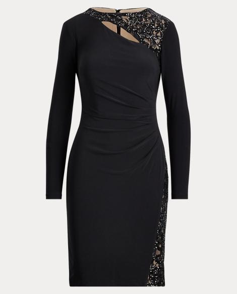 Sequined-Trim Jersey Dress