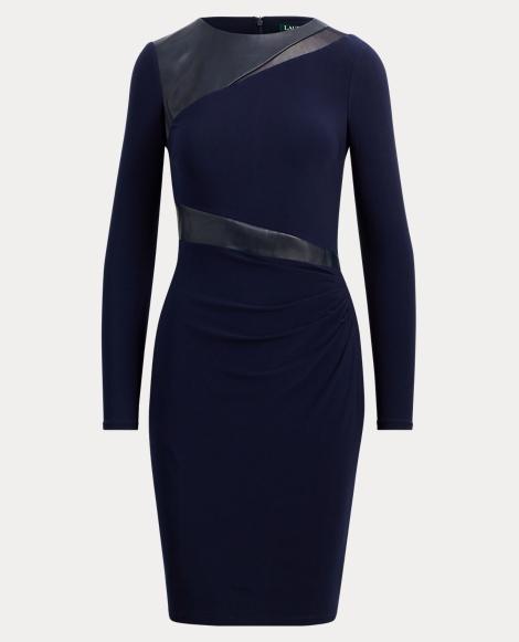 Faux-Leather Jersey Dress