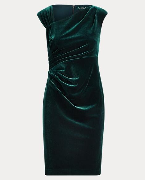 Stretch Velvet Sheath Dress