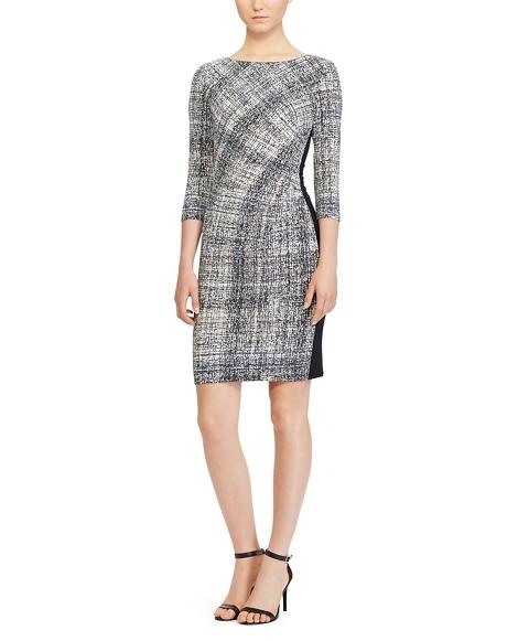 Crosshatch-Print Jersey Dress