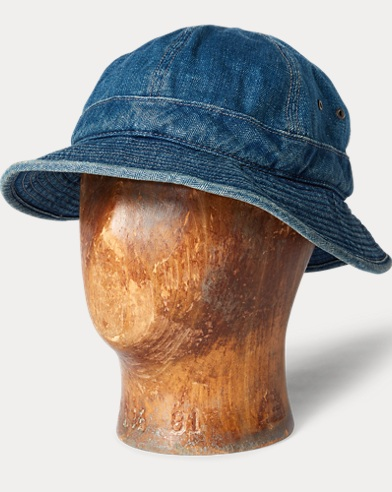 Indigo Linen-Cotton Deck Hat