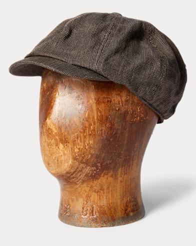 Houndstooth Linen Newsboy Cap