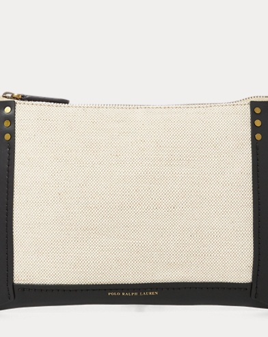 Leather-Trim Canvas Pouch