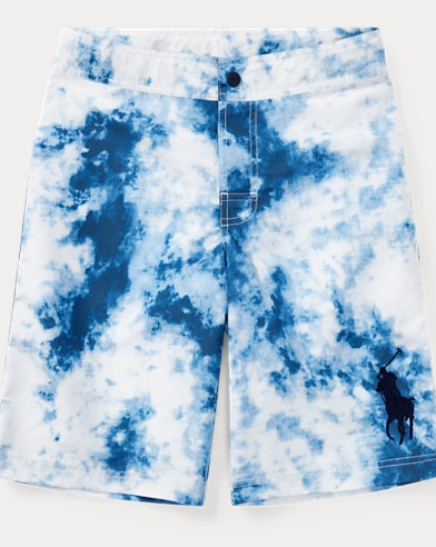 Tie-Dye-Print Swim Trunk