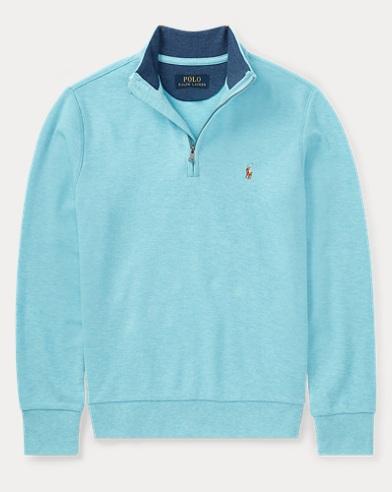 Cotton Mesh Half-Zip Pullover