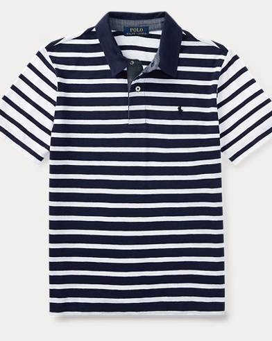 Striped Slub Cotton Polo Shirt