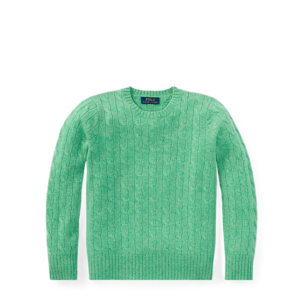 Ralph Lauren Cable-Knit Cashmere Sweater Cabana Green Heather S