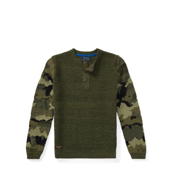 Ralph Lauren Camo-Sleeve Cotton Sweater Camo Multi M
