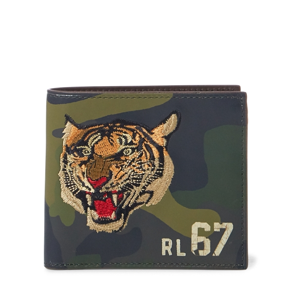 Ralph Lauren Camo Leather Wallet Olive Camo One Size