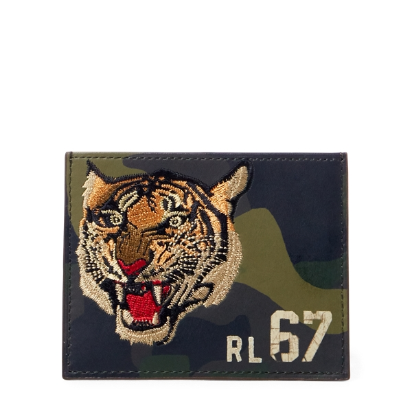 Ralph Lauren Camo Leather Card Case Olive Camo One Size