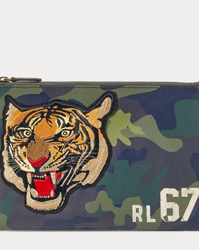 Tiger Camo Leather Pouch