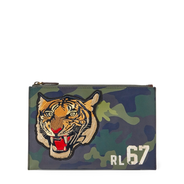 Ralph Lauren Tiger Camo Leather Pouch Olive Camo One Size