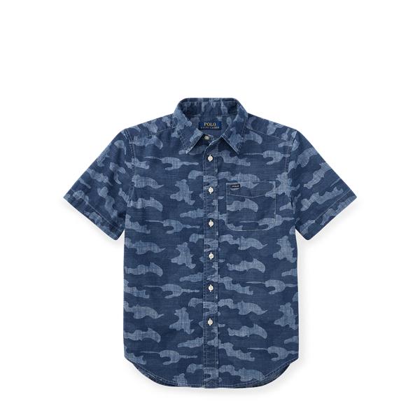 Ralph Lauren Camo Cotton Chambray Shirt Camo M