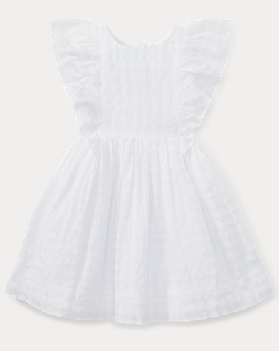 Checked Ruffled Cotton Dress