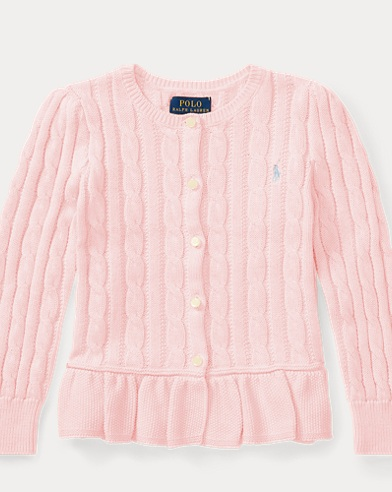 Cable Cotton Peplum Cardigan
