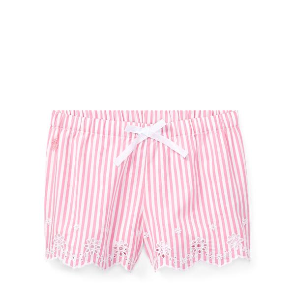 Ralph Lauren Striped Eyelet Poplin Short Pink/White 4T