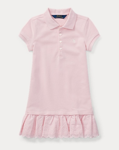 Eyelet-Hem Mesh Polo Dress
