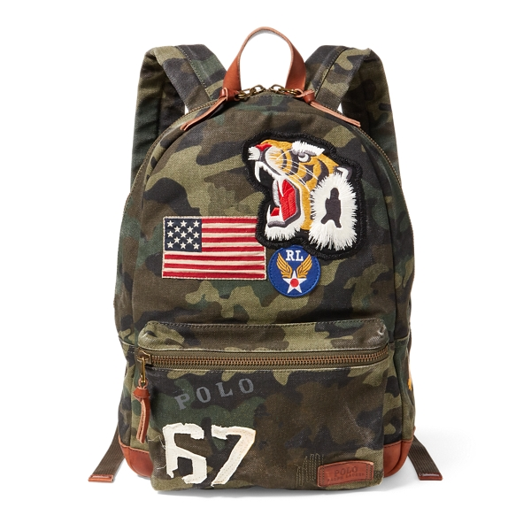 Ralph Lauren Patchwork Camo Canvas Backpack Camo One Size