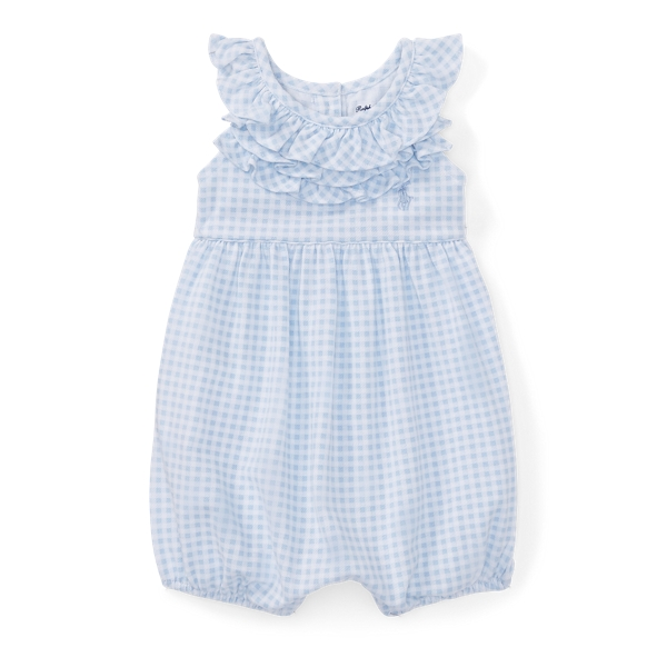 Ralph Lauren Ruffled Gingham Cotton Romper Blue/White 3M