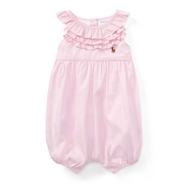 Ralph Lauren Ruffled Cotton Oxford Romper Deco Pink 6M